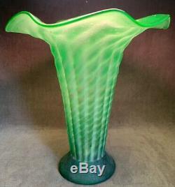 Beautiful Antique Art Nouveau Vase Art Deco Green Frosted Hand Blown Vase Rare