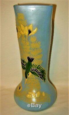 Beautiful Art Nouveau French Legras Enameled Bird Glass Vase Mont Joye