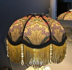 Beautiful Liberty Ianthe Fabric Lampshade Glass Tassels 33cm Base Art Nouveau