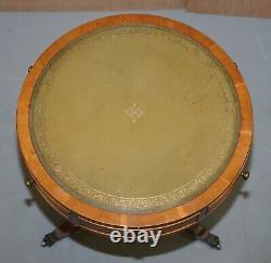 Bevan Funnell Pollard Oak Regency Green Leather Drum Side Lamp Wine Table Drawer