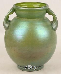 Big Antique Art Nouveau Iridescent Blue Green Art Glass Vase Hand Blown Unsigned