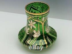 Bohemian Art Nouveau Enameled Glass Vase Antique Manner of Moser Early 20th C