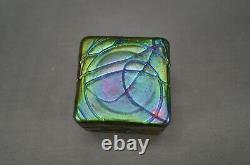Bohemian Loetz Kralik Threaded Iridescent Purple & Green Glass Inkwell Circa 190