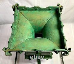 Bradley & Hubbard Rivited Arts & Crafts Oil Lamp, Frogsking Green Patina, Nice