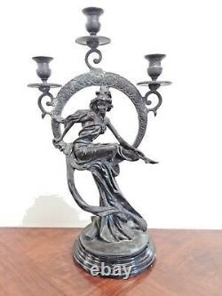 Bronze 3 Light Candelabrum Candlestick Maiden in Circle Art Nouveau Style H 21