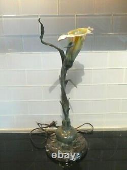 Bronze Art Nouveau Style Lily Lamp On Marble Base