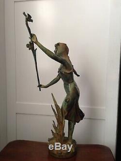 Bronze Statue Girl Maiden w Birds & Rushes Garden Art Sculpture Nouveau Deco 20