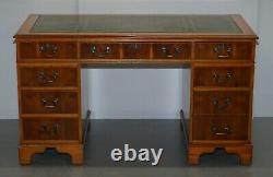 Burr Yew Wood & Green Leather Twin Pedestal Partner Desk Lovely Timber Patina