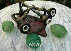 C1900 Art Nouveau Jugendstil Bronze 3 Arm Green Flame Wall Light Sconce 22