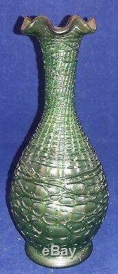 C1905 Art Nouveau LOETZ CHINE Austrian Iridescent Green Glass Cabinet Vase