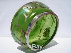 C1920 Kralik Bohemian Iridescent Green Art Glass Bowl Jardiniere Abstract Flower
