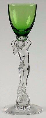 CAMBRIDGE Statuesque #3011 Nude Stem Emerald Green 1 oz. Brandy Cordial Vtg