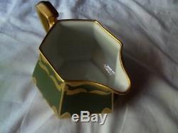CIDER PITCHER Limoges France B & Co Whites Art Chicago green & gold Art Nouveau