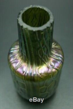 C. 1900 Johann Loetz Bohemian Art Glass Iridescent Vase 4.1/3 Czech Art Nouveau