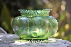 C. 1900 Loetz Creta Rusticana Bohemian Green Iridescent Glass Flower Bowl / Vase