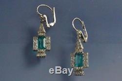 Certified 2.20Ct Green Emerald Diamond 14K Yellow Gold Vintage Art Deco Earring