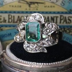 Certified 2.40Ct Green Emerald Diamond 14K White Gold Art Deco Engagement Ring