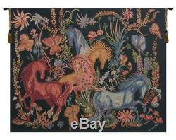 Cheval Azures Belgian Art Nouveau Horses Woven Tapestry Wall Hanging NEW