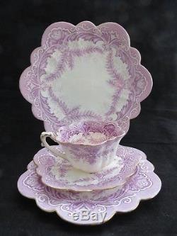Circa 1890 Wileman Foley (pre Shelley) Lilac Fern Empire Tea Trio & Cake Plate