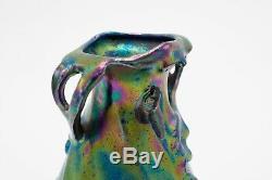 Circa 1901 Art Nouveau Heliosine Pottery, Amphora Style Iridescent Ceramic Vase