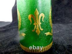 Continental Art Nouveau Style Green & Gilt Vase Fleur De Lis