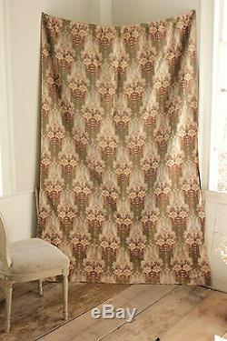Curtain Antique French Art Nouveau fabric green & khaki floral drape with rings