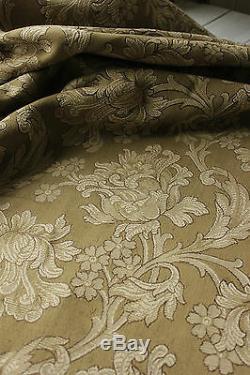 Curtain Antique French Art Nouveau woven drape khaki green large scale trimmed