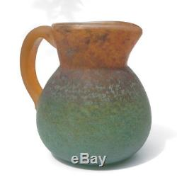 DAUM Antique French Glass Pitcher Vase by G. De Feure C. 1910 Art Nouveau Deco