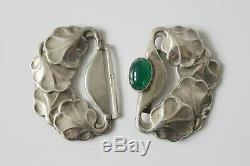 Danish Silver Art Nouveau Ca. 1900 P. Hertz Belt Buckle Green Agate Cabochon Stone