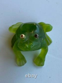Daum Crystal Green Sitting Frog-grenouille With Gold Eyes Signed