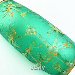 Daum Nancy Green'Gui Mistletoe 5 Vase with Gold & Enamel with mark of Lorraine