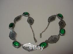 Deco Art Nouveau Filigree Enamel Emerald Green Open Stone Vintage Choker