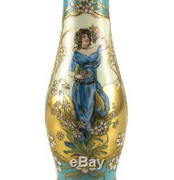 Dresden Hand Painted Porcelain Vase by Richard Klemm, Art Nouveau c. 1920