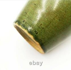 Dunmore Scottish Arts & Crafts pottery vase Green crackle glaze c. 1880 nouveau