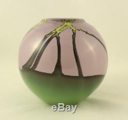 Dutch Schulze Green Purple And Vines Round Vase Vessel Signed Schulze 84