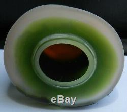 ESTATE 1900 Emile Galle signed Satin, Green, Black Cam Glass Vase French 6 Tall