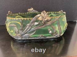 Early 20th C. Art Nouveau Glass Painted Bowl In Vanhauten Pewter Floral Holder