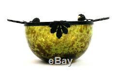 Early 20th C. French Art Glass Bowl Green Brown Sweet Chestnut Gilt Mounts Leaf
