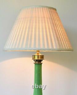 Early 20th C French Green Glass Column Brass Side Console Table Hall Lamp