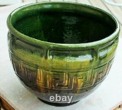 Early Brush McCoy Greek Key Drip Glaze Majolica Jardinière Green-Yellow-Brown