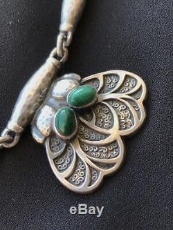 Early Georg Jensen Sterling Silver Malachite Necklace #4 Art Nouveau / Deco 65g