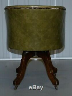 Early Victorian Green Leather Original Barrel Back Swivel Captains Office Chair
