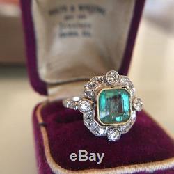Edwardian 1910 Antique 2.5Ct Green Cushion Diamond Promise Vintage Art Deco Ring