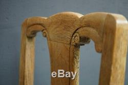 Edwardian Oak Dining Chairs, Art Nouveau Design with Green Vinyl Upholstery
