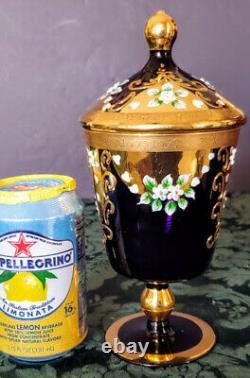 Egermann-Moser Era Amethyst Hand Blown Glass Enameled Gold Gilded Lid Pedestal