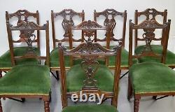 Eight Edwardian Carved Walnut Dining Chairs, Green Upholstered