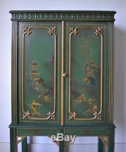 Elegant Chinoiserie Chinese Oriental Green Gilt Bureau Desk Bookcase Cabinet