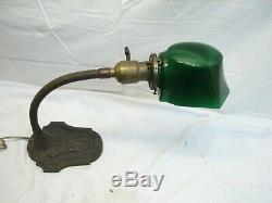 Emerald Green Cased Milk Glass Lamp Shade Student Light Art Nouveau Cast Iron