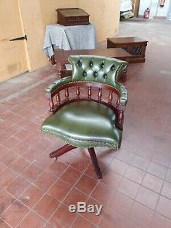 English Green Leather Chesterfield Captains/bankers/office/mahogany Desk Chair