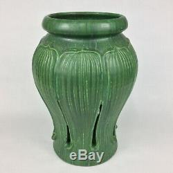 Ephraim Faience Pottery Matte Green Reticulated Leaves 10 3/4 Art Nouveau Vase